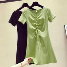 Yfashion Summer Dress Woman New Fashion Solid Short Lace Up V-neck Color Casual Avocado Green Drawstring Dresses