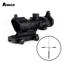 Askco 4x32 Rifle Scope Real Fiber Optics BDC Glass Etched Reticle with Lron Sight Tactical Optical Sights for AR15 M4 M16