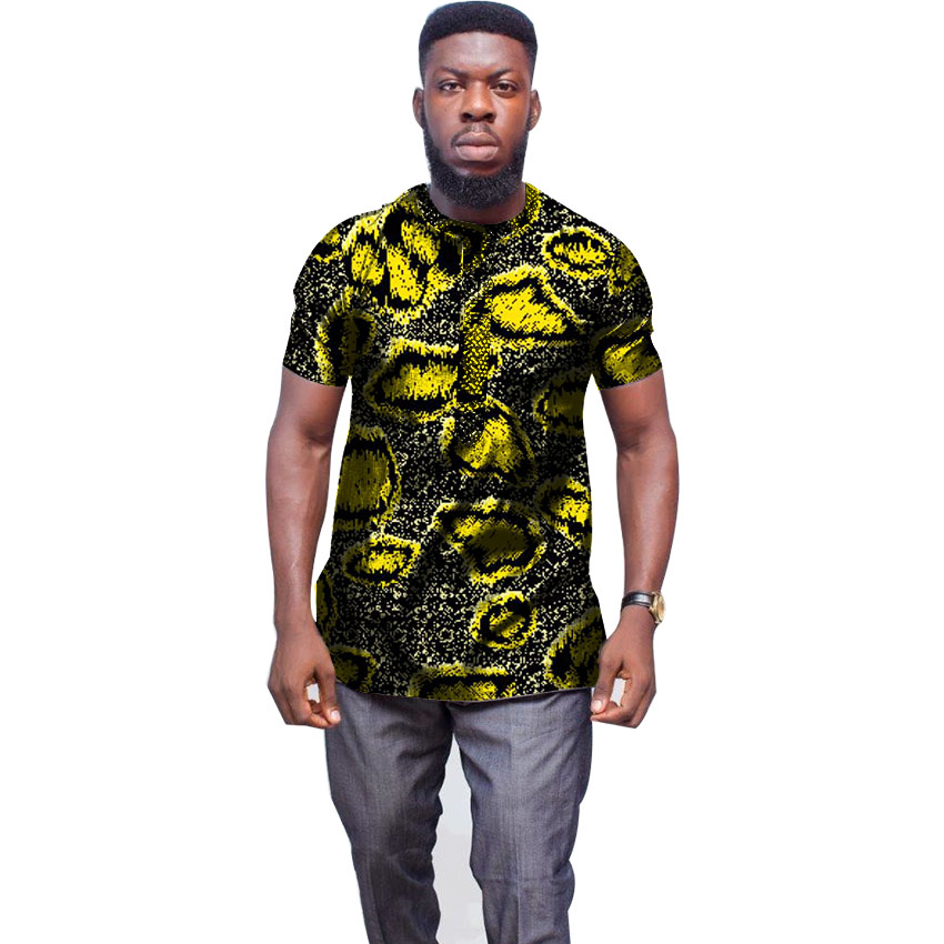 Mans Fashion African Tops Summer Dashiki Clothes Print Short Sleeve New Design Men T-shirt Africa Festival Clothing Customized