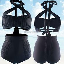 2016 Retro Solid Black Bikini set High Waist Vintage Swimwear Wide Bandage Ruffle sexy Swimsuit Large