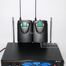 UHF Двухканальный беспроводной петличный микрофон Система 2 боди с 2 нагрудными микрофоном
