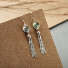 S925 silver inlaid tassel earrings simple temperament natural grape stone earrings silver jewelry inlaid natural blue earrings shine all match earrings fashion temperament section mixed batch