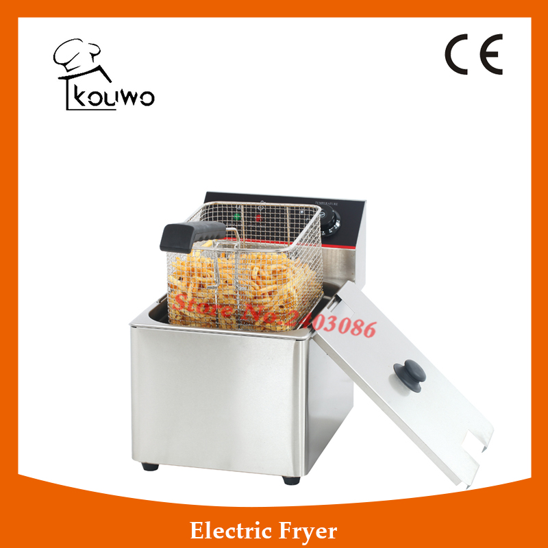 Commercial Electric Deep Fryer Chicken Fries Chips Machine,High Quality Chip Fryer,Deep Fryer Oil Filter Machine (KW-EF8L) 2 6l air fryer without large capacity electric frying pan frying pan machine fries chicken wings intelligent deep electric fryer