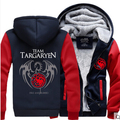 New Game of Thrones Grosso Com Capuz Zipper Homens Camisolas de Casacos de Inverno e Casacos de A Song of Ice and Fire House Targaryen capuz
