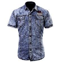 Sommer 2017 Mode Baumwolle Mann Casual Slim Fit Denim Fracht Shirts/Europäischen Stil Männlichen Kurzen Ärmeln Jeans Shirts