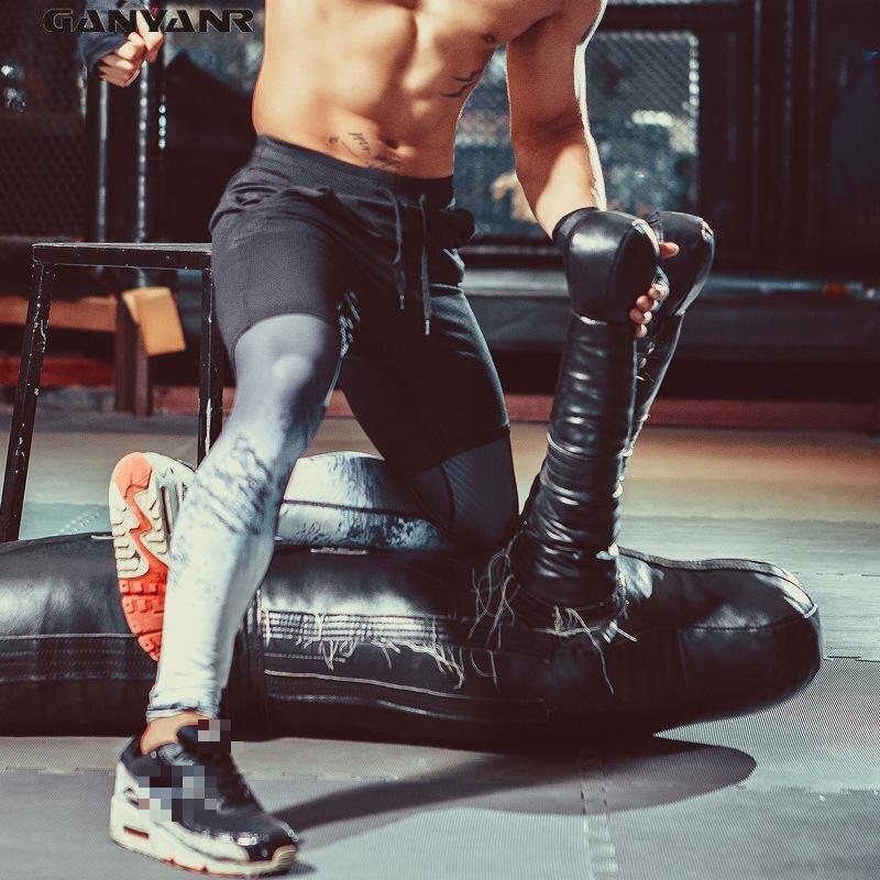Ganyanr бренд Колготки Для мужчин Спортивные Леггинсы Спортивные Брюки для девочек спандекс сжатия Бодибилдинг Отпечатано тренировки быстросохнущая Йога