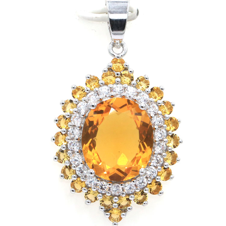 Classic Oval Gemstone Golden Citrine White CZ Woman's925 Silver Pendant 39x22mm