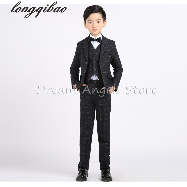 (Jacket+Vest+Pants+Shirt+Bow tie)Boy Slim Fit Suits Plus Size 3-14T Boys Gray Wedding Suits With Pants Business Boys Formal Wear