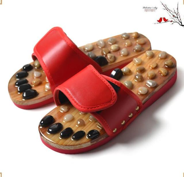 Factory direct summer natural cobblestone foot soles health massage shoes household slippers