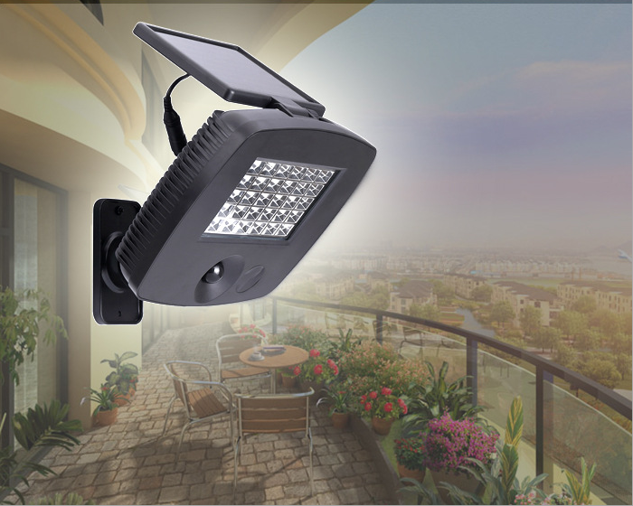 ФОТО High Bright 30LEDs PIR Motion Sensor Light LED Solar Powered Light 200LM Security Wall Lamp for Outdoor Garden Balcony