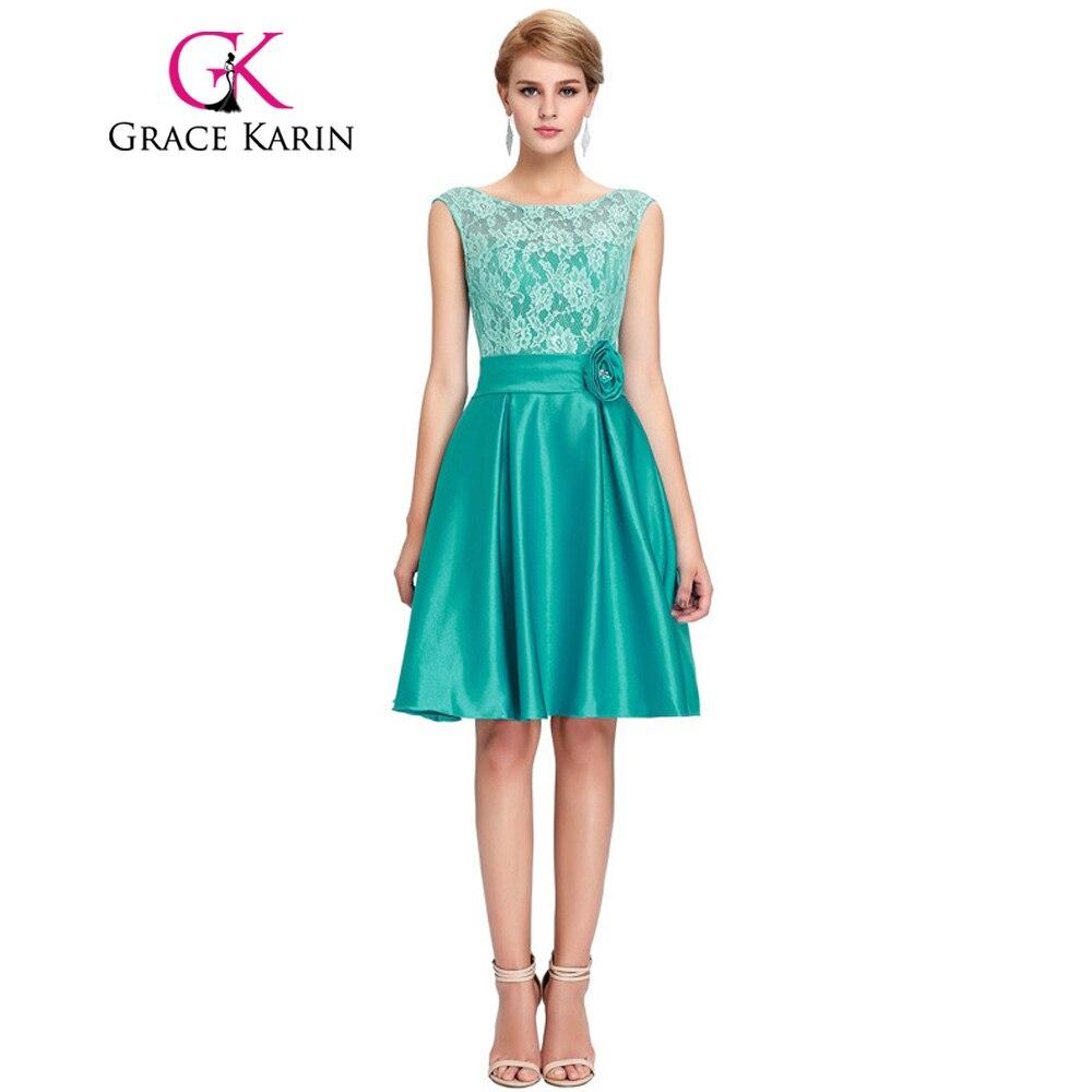 ₩Grace Karin Cute Short Bridesmaid Dresses Knee Length Satin Lace A ...