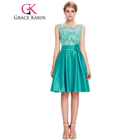 Grace Karin Cute Short Bridesmaid Dresses Knee Length Satin Lace A line Charming Green Purple Blue Bridesmaid Gown CL6116