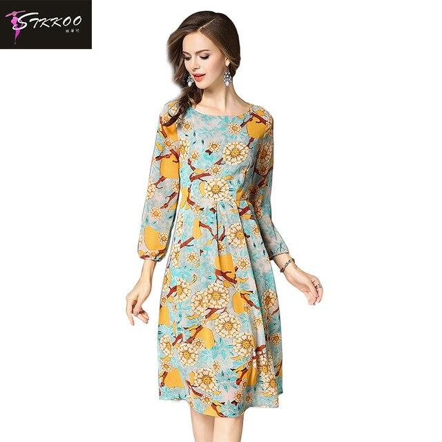 Knee Length Chiffon Dress with Flower Print