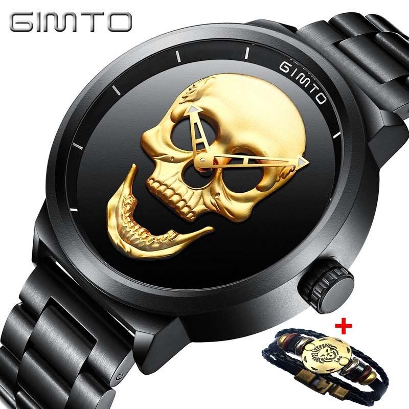 Acier inoxydable Montres Hommes Analogique Militaire créer crâne Montres Quartz Top Marque De Luxe Mâle Sport Horloge reloj hombre