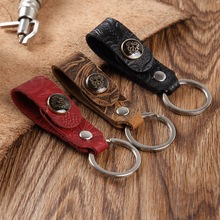 High-Grade Retro Leather Car Keychain Women Men Carved Genuine Cowhide Key Chains for Key Rings Holder Purse Pendant Bag Charm latest fashion genuine leather rodeo pony charm for women s bag new horse bag charm 2 side bicolor pm 13 10 cheap purse charm