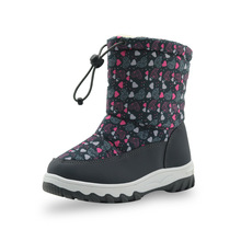 ULKNN 2018 cotton shoes girls boots winter thick warm children snow pu leather waterproof