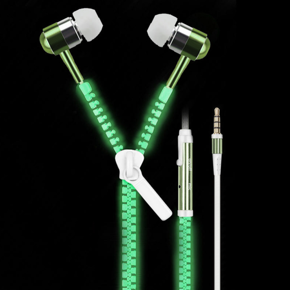 Gorgeous Zipper Type Earphone With Luminous Light 1.2M Stereo Luminous Zipper Headset With Microphone For iPhone6s Xiaomi5 MP3