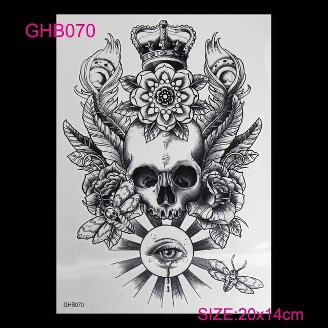 3D Colorful Hot Flashes Waterproof Temporary Tatoo Body Art Of Temporary Tattoo Sticker Set DIY Roses Skeleton Skull Tattoos