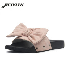 цены FeiYiTu 2019 New SummerWoman Bow Beach Flats Slippers Casual Women Printed Bowknot Clogs Slip on Slides Shoes Eu Size 35-40