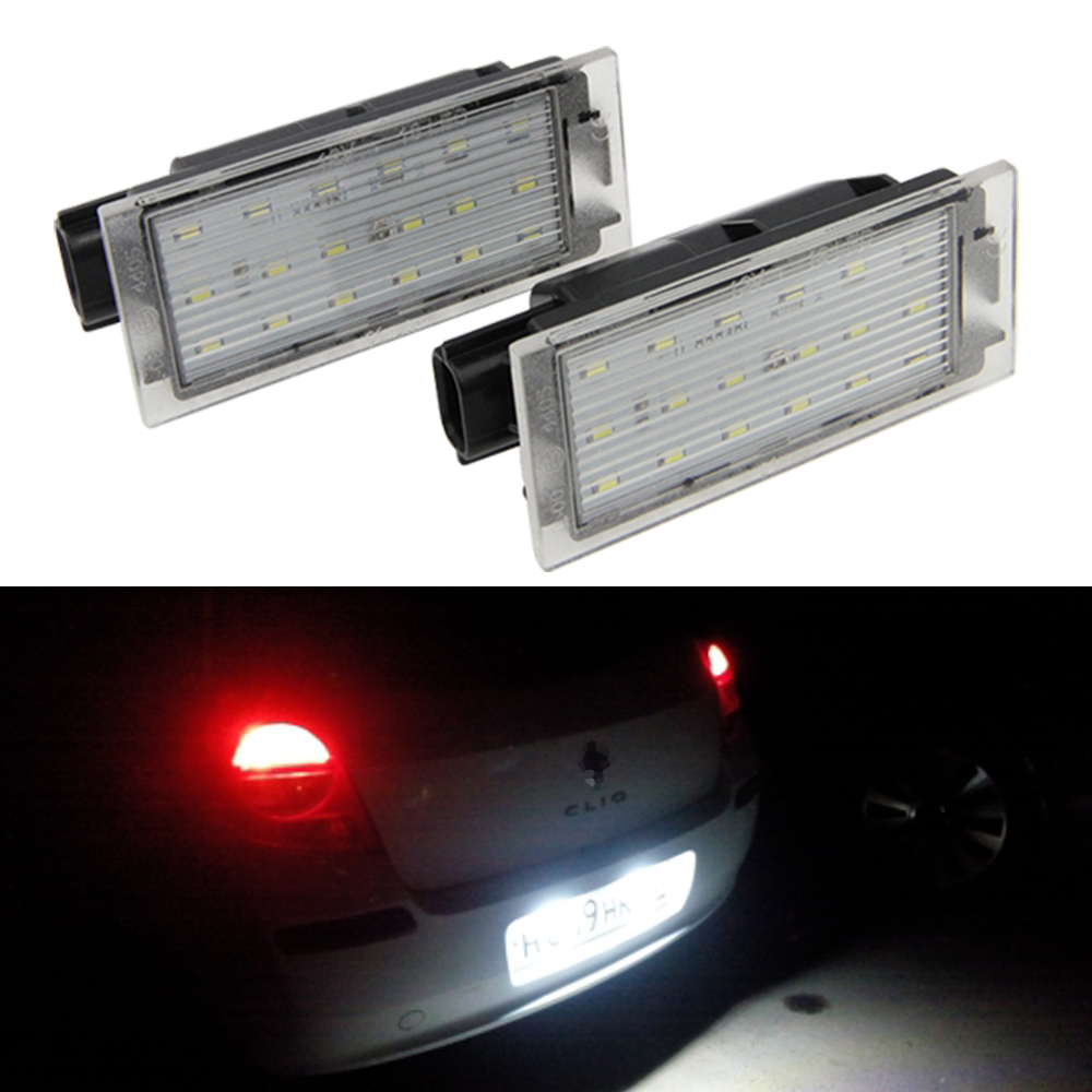 Pack of 2Pcs Car LED Number License Plate Light SMD 3528 For Renault Megane 2 Clio Laguna 2 Megane 3 Twingo Master Vel Satis 2pcs 12v white led license plate light number lamp for renault twingo clio megane lagane error free