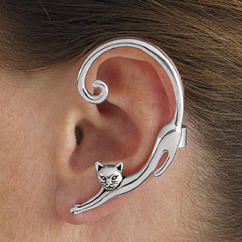 Single Piece Punk Style Gold Silver Plated Cat Post Earring With Ear Cuff Rock Animal Black Stud Earring Women 2018 Ear Wrap