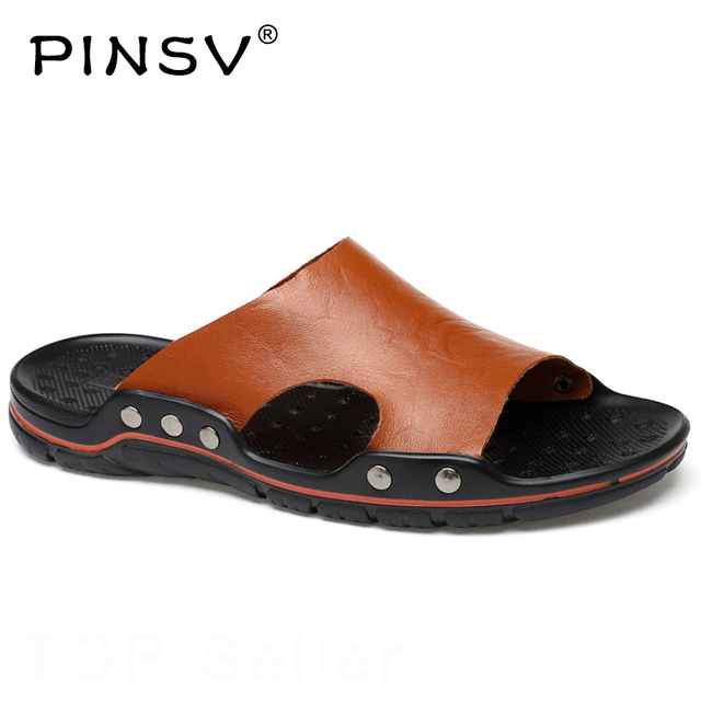 2a22f0a28 PINSV Summer Sandals Men Slippers Casual Shoes Men Leather Sandals Black  Fashion Beach Slippers Men Big Size 38~48