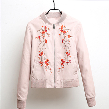 Flower Bomber Jacket | YNZZU Casual Embroidered Women Leather Jacket New Spring Autumn Long Sleeve Short Pink PU Bomber Jackets Women Outwears YO539