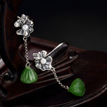 2018 Rushed New Pearl Earings Fashion Jewelry Deer S925 Pure Antique Inlaid And Field Jade Pearls Lotus Lady Earrings Wholesale