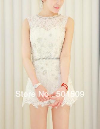 Free shipping ladies women luxury rhinestone beading leotard white lace embroidery leotard dancing/fashion/princess ballet