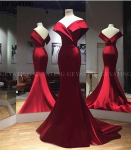 Image 1 - Elegant Off the Shoulder Burgundy Arabic Evening Dress Mermaid Long Satin Women Plus Size Formal Party Gowns Dubai Prom Dresses