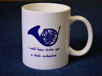 The New Free Shipping Quality Blue French Horn Ceramic Mug White Color I Would Stolen