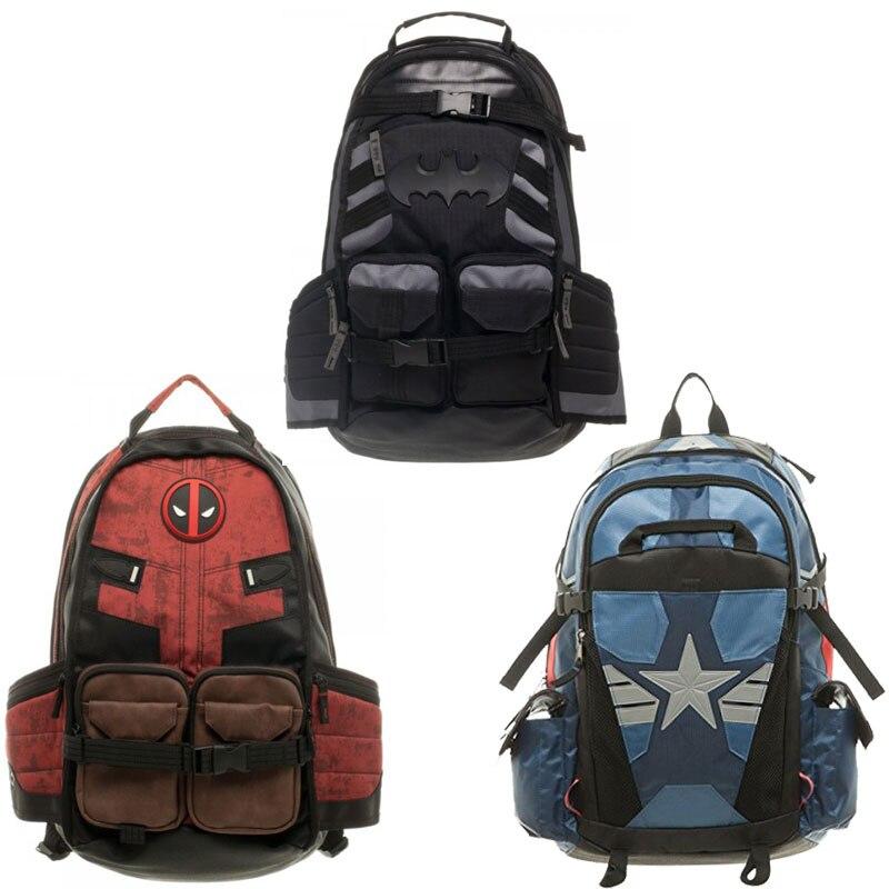 Batman notebook backpack Marvel Deadpool Captain America 3-style men PU shoulder bagmens backpacks canvas travel bags