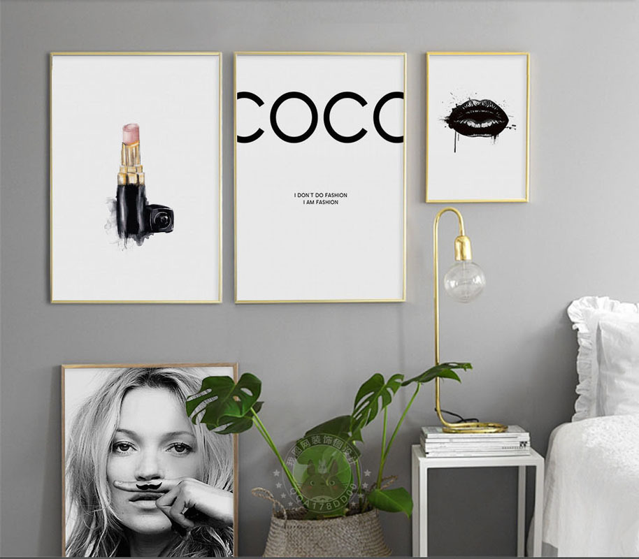 2018 New Arriver Home Living Abstract Adornment Painting of Kate Moss Lipstick Star Poster of Wall Decor Canvas Oil Pantings