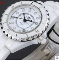 CW012 Ceramic Bracelet Watch Black Ceramic White Ceramic Square Stone
