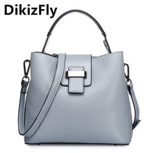 DikizFly Handbag fashion women Bag Real Leather Luxury Brand Tote Bucket Bags lady messenger bag crossbody Handbag Purse Women