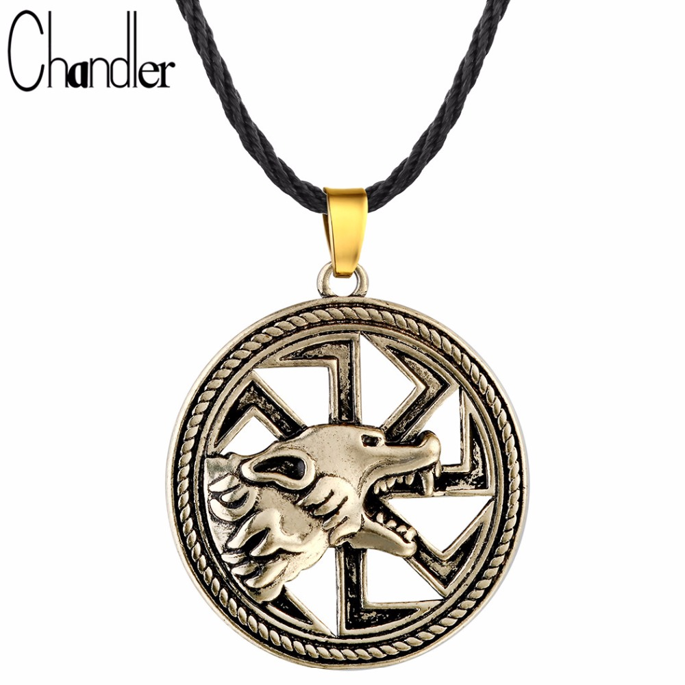 Chandler New Slavic Amulet Wolf Totem Necklace Kolovrat Charm Vintage Men s Valknut Collars Statement Round