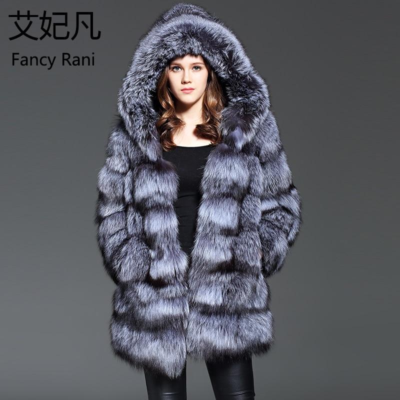 Echtes Fell Furealux Real Nerz Mantel Mit Silber Fuchs Pelz Mit Kapuze Natürliche Pelz Jacken Fuchs Echte Pelz Ärmeln Warme Winter Für Frauen