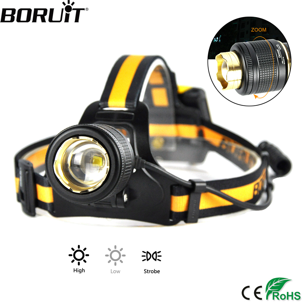 BORUiT 3-Mode Zoomable Headlight B18 1200LM XM-L2 LED Headlamp Waterproof Head Torch Camping Hunting Flashlight by AA Battery boruit b10 xm l2 led headlamp 3 mode 3800lm headlight micro usb rechargeable head torch camping hunting waterproof frontal lamp