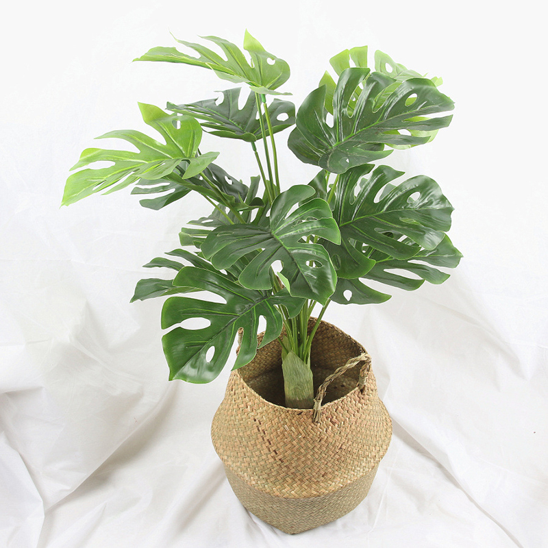 Ins Large Artificial Tree Green Leaves Realistic Green Plants Office Supplies Decorative Garden Turtle Palm Leaves