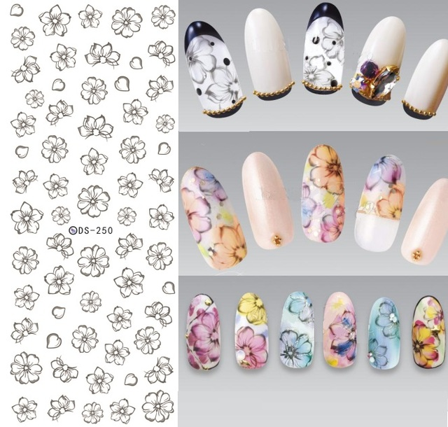 1 Sheet Blooming Flower Nail Sticker Water Decals Nail Decorations ...