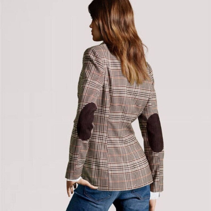 Us19 Herbst Frauen 18 22Off Grundlegende Mode Jacke Feminino In Anzüge Casual 2015 Damen Ellenbogen A360 Patches Dünner Blazer Neue Plaid kuXTOPZi