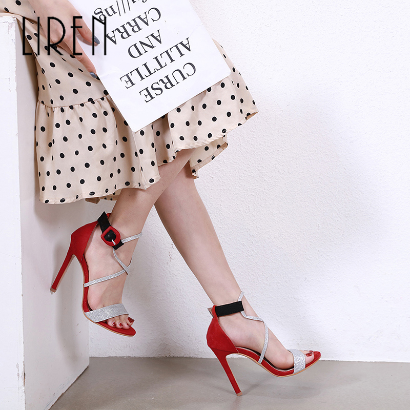 Liren 2019 Summer Fashion Party Lady Round Toe High Heels Sandals Open Toe Transparent Rhinestone Sexy Buckle Strap Size 35 40 in High Heels from Shoes