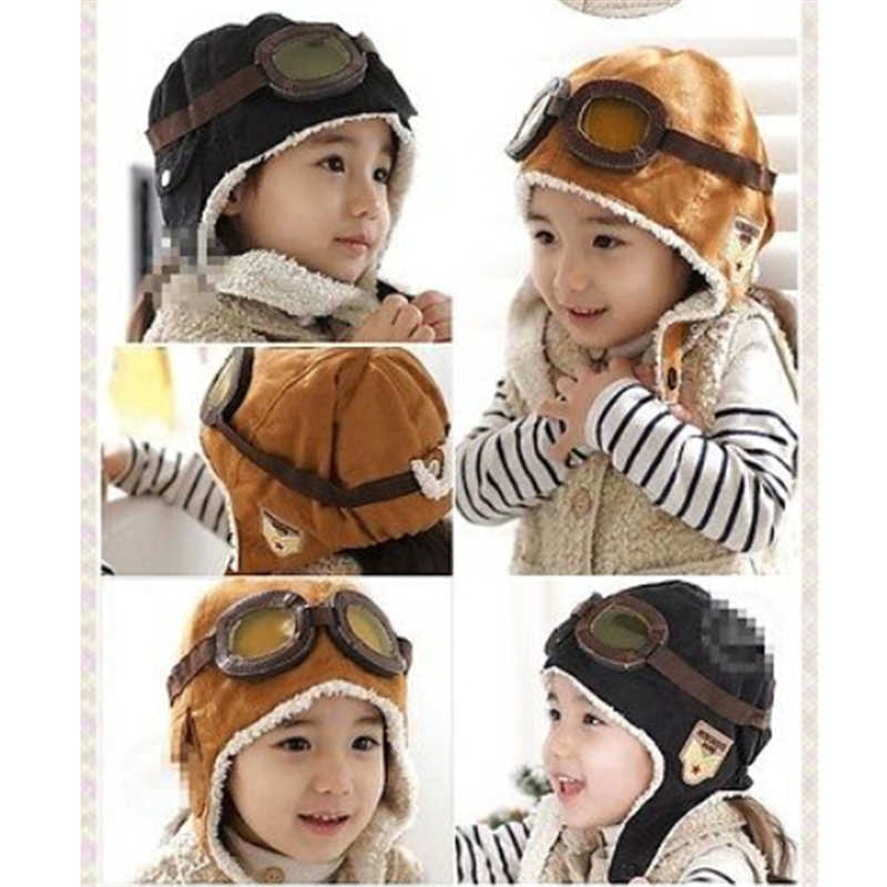ba2a7e2247df ... HOT Sale Winter Baby Toddler Boy Girl Kids Pilot Aviator Warm Cap Hat  Beanie ...