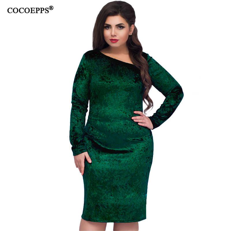 45f5c6f1132 ... COCOEPPS 5XL 6XL новое бархатное платье больших размеров 2019 большой  размер s женские элегантные длинные рукава ...