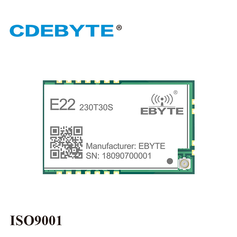 CDEBYTE E22-230T30S SX1262 LoRa 230MHz 30dBm SMD Wireless Transceiver 1W Long Distance Transmitter and Receiver IPEX Stamp HoleCDEBYTE E22-230T30S SX1262 LoRa 230MHz 30dBm SMD Wireless Transceiver 1W Long Distance Transmitter and Receiver IPEX Stamp Hole