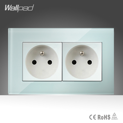 Double 16A French Socket Wallpad White Crystal Glass 146*86mm Double EU French Standard Wall Socket Free Shipping sh040 0 75kbcsh040 1 5kbc plc new original