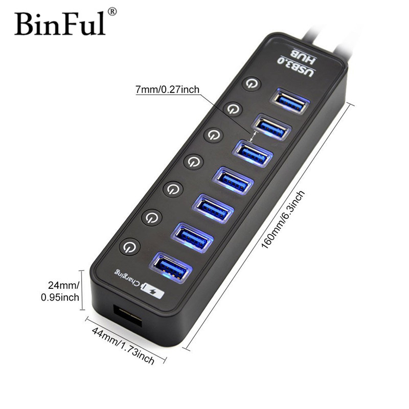 binful usb 3 hub 3 0 7 ports with power charging and switch multiple usb splitter porta panel. Black Bedroom Furniture Sets. Home Design Ideas