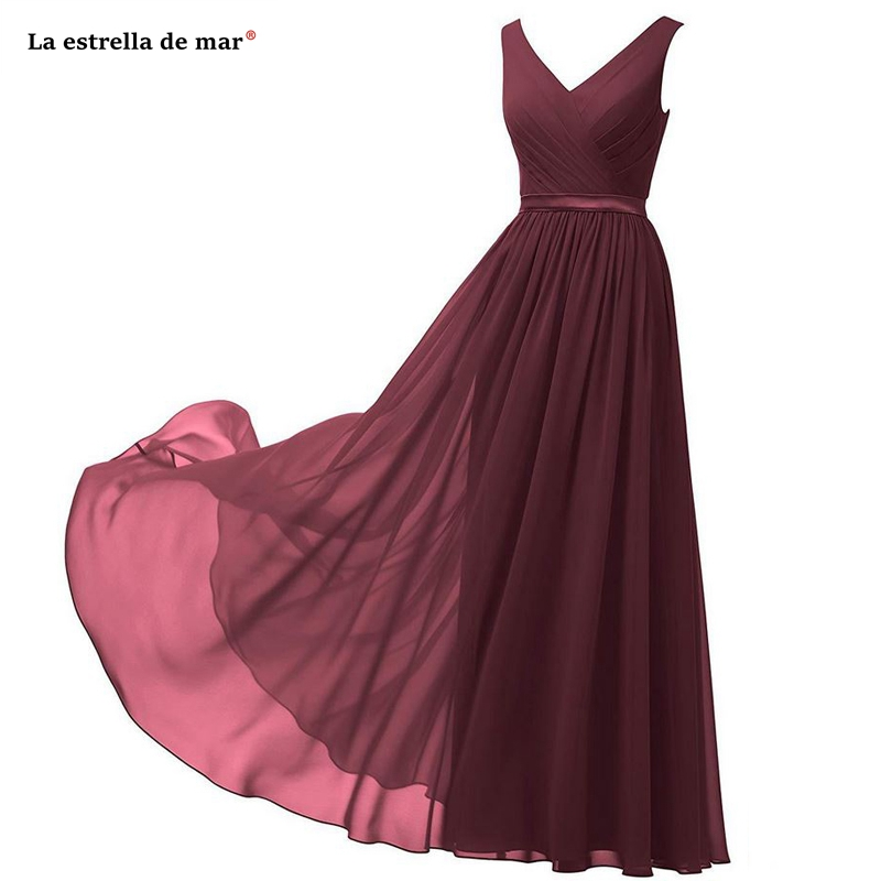 Vestido madrinha hot chiffon sexy V neck A Line royal blue navy blue burgundy mint green turquoise purple   bridesmaid     dress   long