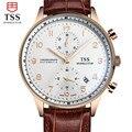 TSS shell superfície café Ouro Relojes Hombre 2016 Mens Relógios Top Marca de Luxo Relógios De Pulso Homens Relógio De Quartzo-Relógio à prova d' água