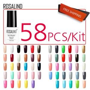 Гель-лак для ногтей ROSALIND 58 шт./лот, набор для маникюра, набор гель-лаков, полуперманентные Лаки серии Lucky Pure Color, УФ светодиодная лампа